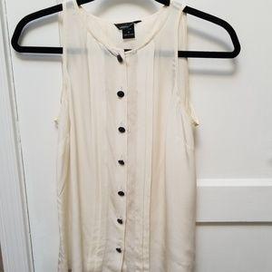 Ivory white 100% silk sleeveless blouse